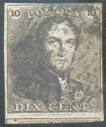 N°1 - Epaulette 10 Centimes Brun, Très Bien Margée Et Grand Voisin Obl. Finement Apposée.  Superbe - 11643 - 1849 Epaulettes