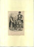 COSTUMES BULGARES . GRAVURE SUR BOIS DU XIXe S. DECOUPEE ET COLLEE SUR PAPIER . - Sculptures