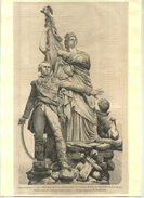 FRANCE 75 . MONUMENT DE LA DEFENSE DE PARIS PAR MONCEY EN  . GRAVURE SUR BOIS DU XIXe S. DECOUPEE ET COLLEE SUR PAPIER . - Sculptures