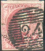 N°5 - Médaillon 40 Centimes Carmin Vif, TB Margée, Obl. P.24 BRUXELLES Idéalement Apposée . Superbe  - 11650