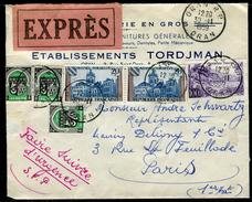 France / Algérie - Cover / Enveloppe En Exprès De Oran Pour Paris En 1959 , Affr.timbres De France Et Algérie   Ref F190 - Algerien (1924-1962)
