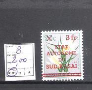 Sud-Kasaï  N° 8 **  Fraîcheur Postale  Cote COB : 2,00€. - Sud-Kasaï