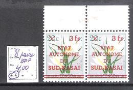 Sud-Kasaï  N° 8 ** En Paire BDF Fraîcheur Postale  Cote COB : 4,00€. - South-Kasaï