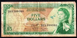 EAST CARIBBEAN States 5 DOLLARS ND 1965 G-VG P-14h - Caraïbes Orientales