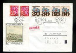 Marcophilie,lettre1988,complément Affranchissement Autorisé Par Timbres-taxe Sur Lettre Expès,Prague 17.siècle,Humenné - Postage Due