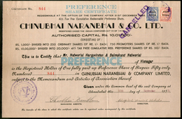 India 1950's Chinubhai Naranbhai & Co. Share Certificate With Revenue Stamp - Industry