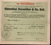 India 1950's Chinubhai Naranbhai & Co. Preferance Share Certificate 2nd Issue - Industry