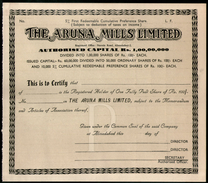India 1950's The Aruna Mills Limited Share Certificate Blank # FA07 - Industry