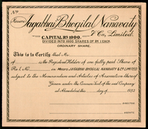 India 1932 Jagabhai Bhogilal Nanavaty & Co. Share Certificate # FA08 - Industry
