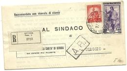 ITALIA REPUBBLICA STORIA POSTALE RACCOMANDATA AL SINDACO DI OLEGGIO LAVORO + DEMOCRATICA #177# - 6. 1946-.. Republik