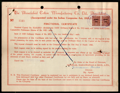 India 1960's Ahamedabad Cotton Mfg. Co. LTD Share Certificate Revenue Stamp # FA-18 - Industrie