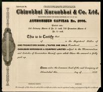 India 1930's Chinubhai Naranbhai & Co. LTD. Share Certificate Blank # FA-23 - Industry