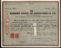 India 1960's Marsden Spinning & Mfg. Ltd Share Certificate Revenue Stamp # FA-30 - Industrie