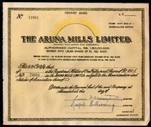 India 1980's The Aruna Mills Limited Share Certificate Blank # FA-35 - Industry