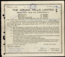 India 1960's The Aruna Mills Limited Share Certificate # FA-36 - Industry