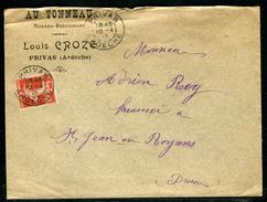 France - Enveloppe Commerciale De Privas Pour St Jean En Royans En 1913  Ref F235 - Marcophilie (Lettres)