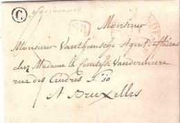 LETTRE EN PORT DÛ DATEE DE SOMBEKE LE 12 8BRE 1838 BOÎTE C DE WAASMUNSTER  CACHET DE TERMONDE LE 11 SR - 1830-1849 (Independent Belgium)