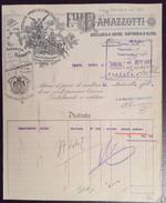 ENOLOGIA F.LLI RAMAZZOTTI DISTILLERIA A VAPORE RAFFINERIA D'ALCOOL ANTICA FATTURA DEL 30/9/1917 - Pubblicitari
