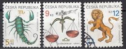 3069 Ceca 1998-2000 Segni Zodiaco Zodiac Bilancia Leone Scorpione Viaggiato Used Republika Ceska - Astrologia
