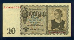 Banconota Germania 20 Mark  16/6/1939 - To Identify