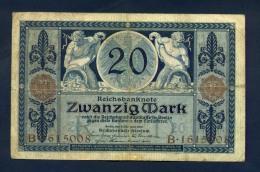 Banconota Germania 20 Mark  1915 BB - To Identify