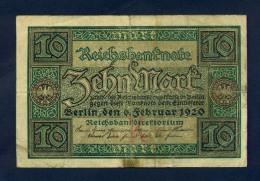 Banconota Germania 10 Mark  6/2/1920 BB - To Identify