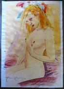 """RARE +++ Marc RENIER """"Jeune Femme Nue"""" - Blanche Colombe - Aquarelle Originale Sur Papier Format 21x29,7 - - Books, Magazines, Comics"""