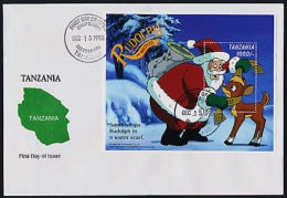 Tanzania 1757 On FDC - Disney, Christmas, Rudolph The Movie, Santa - Tanzania (1964-...)