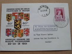 Fed. Royale / Koninklijke Landsbond - Antwerpen 23-9-1951 / Namur 24-9-51 Helipost ( Omslag / Enveloppe - Zie Foto's ) ! - Belgique