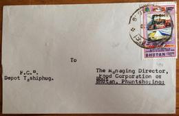 Bhutan, Cover Sent To Phuntsholing In 1978, Overprint Surcharge 25 CH On 1.40 NU, UPU, Train - Bhutan