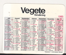 Sweden Old 1985 Small Calendar -  Motala - Vegete Forsakring - Calendriers
