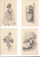 La Vie Dans Les Années 1900 Raphael Tuck Et Fils Serie 4030 Les 4 Cartes - Tuck, Raphael