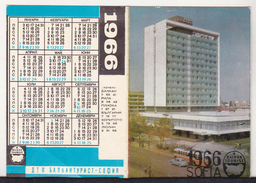 Bulgaria Old 1966 Small  Small Calendar - Balkanturist Sofia - Calendriers