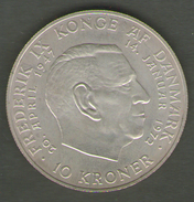 DANIMARCA 10 KRONER 1972 AG SILVER - Danimarca
