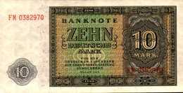 ALLEMAGNE Republique Démocratique  10  MARK  De 1948  Pick 12  AU/SPL - [ 6] 1949-1990 : GDR - German Dem. Rep.