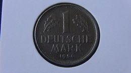 "Germany - 1954 - 1 Mark - Mintmark ""F"" - Stuttgart - KM 110 - VF - Look Scans - 1 Marco"