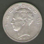 BELGIO 50 FRANCHI 1940 LEOPOLDO IIIAG SILVER - 1934-1945: Leopold III