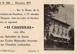 84 LE THOR, Carte Pub Hotel Le Chasselas,plan D'acces Au Dos - France