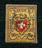 SVIZZERA 1850 - Croce Bianca Non Inquadrata - 10 Rp Giallo, Nero E Rosso - Rayon II. - Mi:CH 8II - 1843-1852 Poste Federali E Cantonali