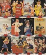 SERIE COMPLETA DE 25 TARJETAS DE ESTADOS UNIDOS DE COCA-COLA (USADAS) MUJER-WOMAN-VINTAGE  (COKE) - Publicidad