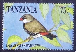 Diamond Firetail Finches Or Diamond Sparrows, Birds, Tanzania MNH