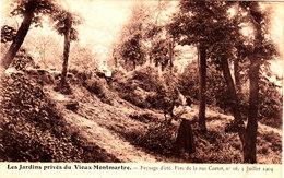 LES JARDINS PRIVES DU VIEUX MONTMARTRE Paysage D'été Belle Cpa Animée Sépia Circulée En 1906 Bon état Voir Scans - Sacré Coeur