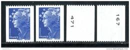 VARIETES Sur N° 4241 DEUX ROULETTES MARIANNE DE BEAUJARD TVP BLEU N° NOIR A DROITE Et A GAUCHE NEUF ** - Roulettes