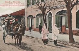 SHKODRA, ALBANIEN, VORNEHME TURKIN IM WAGEN UND VERSCHLEIERTE TURKISCHE BURGERSFRAUEN - SUPERBE CARTE  - TOP !!! - Albanien
