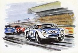 24 Heures Du Mans  -  En Pleine Vitesse Devant Les Tribunes  -  Art Carte Par Aldé - Le Mans