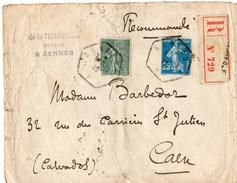 """1919 - Lettre Recom. De RENNES Pour CAEN - Tp Semeuses N° 130 + 140 - Obl Bureau Auxilliaire De Rennes - Env. """"vieillie"""" - 1877-1920: Periodo Semi Moderno"""