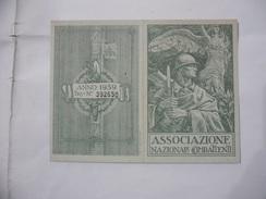 TESSERA ASSOCIAZIONE NAZIONALE COMBATTENTI FEDERAZIONE PROVINCIALE ANCONA-CERRUTO D'ESI 1939. - Documents Historiques