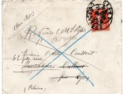 """1912 - Lettre De Caen Pour Lyon - Tp 10c Semeuse (n°138) - Vignette """"DECEDE"""" Au Verso - Marcophilie (Lettres)"""