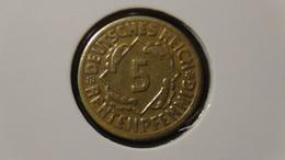 """Germany - Weimarer Republik - 1924 - 5 Rentenpfennig - Mintmark """"F"""" – Stuttgart - KM 32 - VF - Look Scans - 5 Rentenpfennig & 5 Reichspfennig"""
