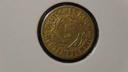 """Germany - Weimarer Republik - 1924 - 5 Rentenpfennig - Mintmark """"E"""" – Muldenhütten - KM 32 - VF/F - Look Scans - 5 Rentenpfennig & 5 Reichspfennig"""